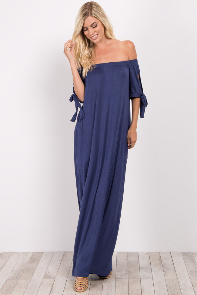 Navy Blue Off Shoulder Sleeve Tie Maxi Dress