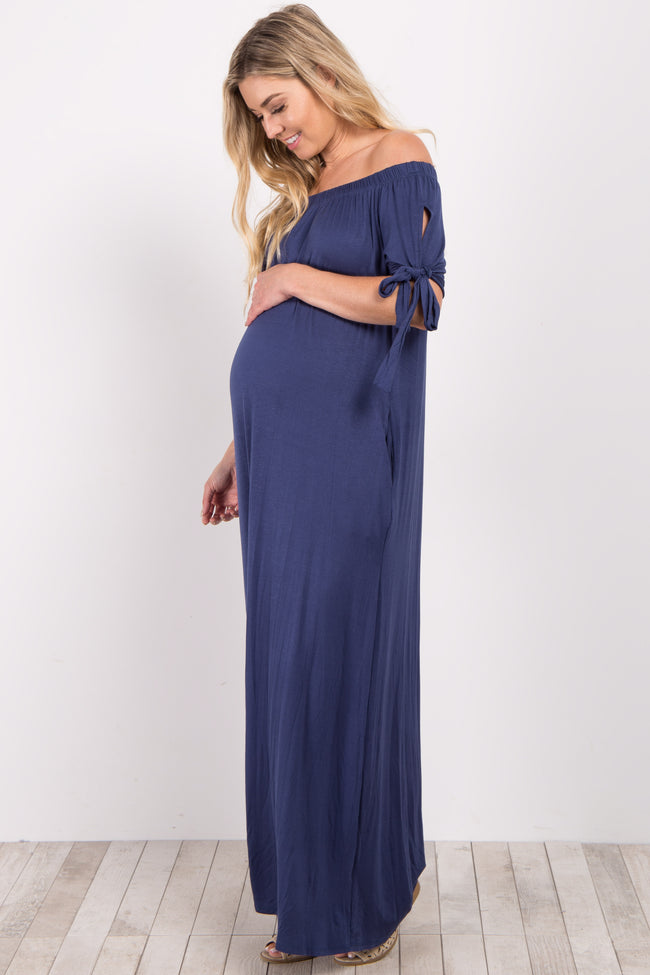 Navy Blue Off Shoulder Sleeve Tie Maternity Maxi Dress