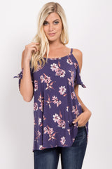 Blue Floral Open Shoulder Sleeve Tie Maternity Top