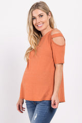 Orange Cutout Shoulder Maternity Top