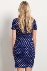 Tall Navy Polka Dot Fitted Maternity Dress