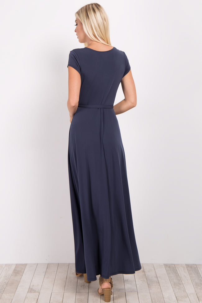 Charcoal Grey Solid Short Sleeve Maxi Dress