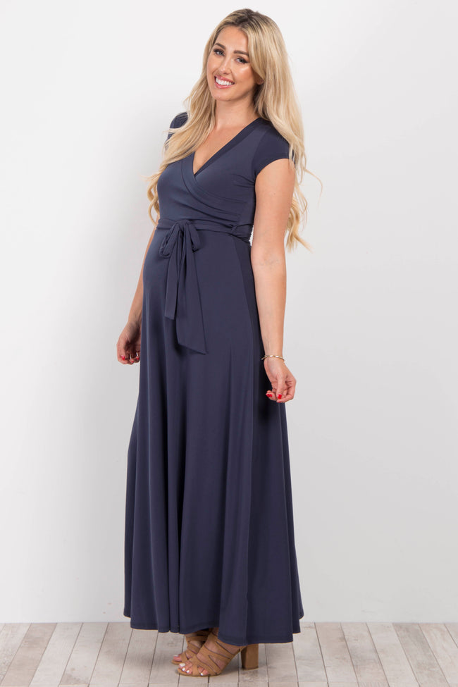 Charcoal Grey Solid Short Sleeve Maternity/Nursing Maxi Dress