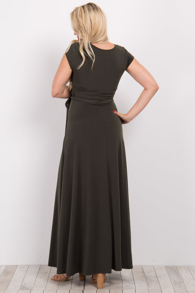 Olive Solid Short Sleeve Maternity/Nursing Maxi Dress