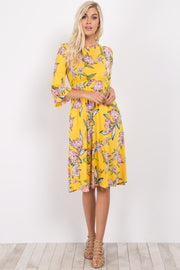 Yellow Floral High Neck Ruffle Sleeve Dress