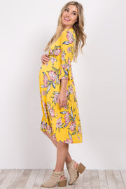 Yellow Floral Ruffle Sleeve Maternity Dress