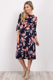 Navy Blue Floral Ruffle Sleeve Maternity Dress