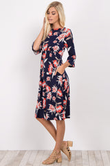 Navy Blue Floral High Neck Ruffle Sleeve Dress