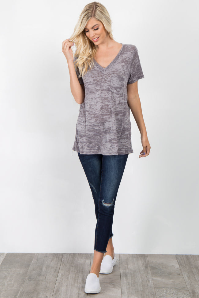 Charcoal Grey Heathered Pocket Front Top