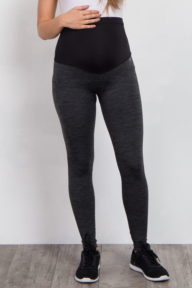 Grey Heathered Active Maternity Leggings