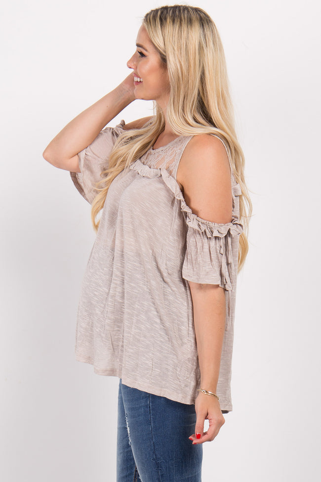 Taupe Cold Shoulder Lace Neckline Maternity Top