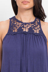 Navy Blue Crochet Neck Sleeveless Top