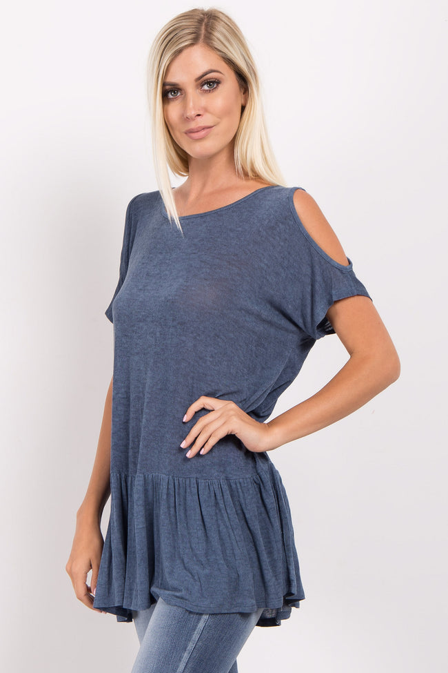 Navy Blue Cold Shoulder Ruffle Trim Top
