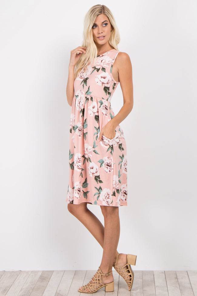 Mauve Floral Sleeveless Dress