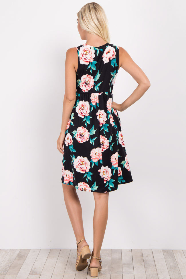 Black Floral Sleeveless Dress