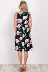 Black Floral Sleeveless Maternity Dress