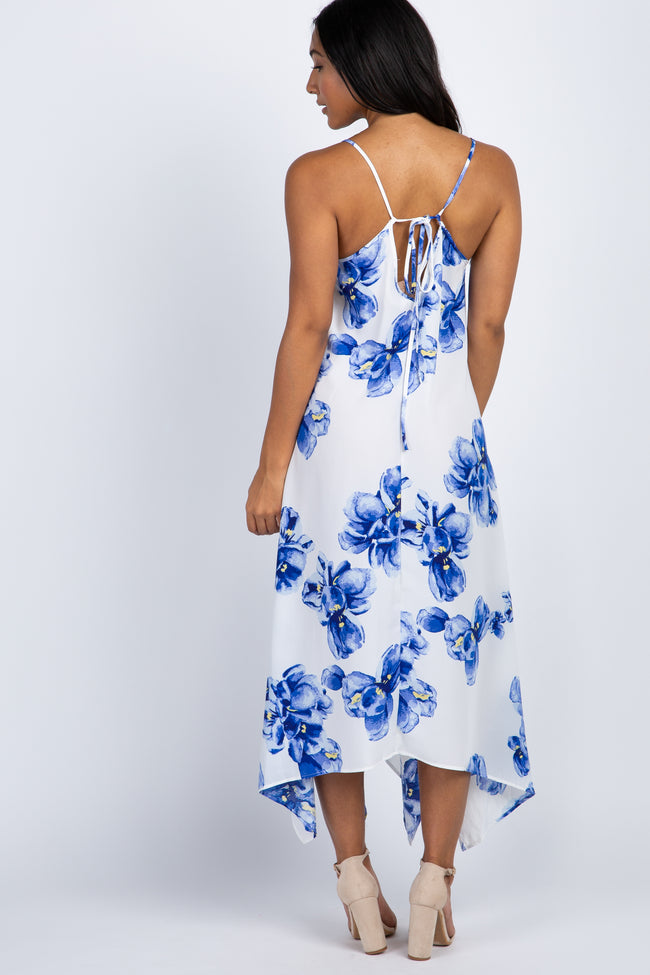 Blue Floral Asymmetric Cami Strap Dress