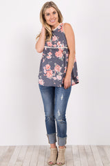 Navy Blue Faded Floral Crochet Peplum Maternity Top