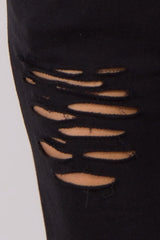 Black Distressed Maternity Lounge Pants