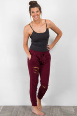 Burgundy Distressed Maternity Lounge Pants