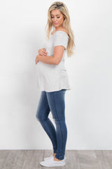 Blue Distressed Knees Maternity Jeans