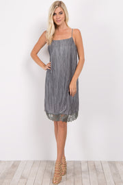 Light Olive Pleated Lace Trim Maternity Dress