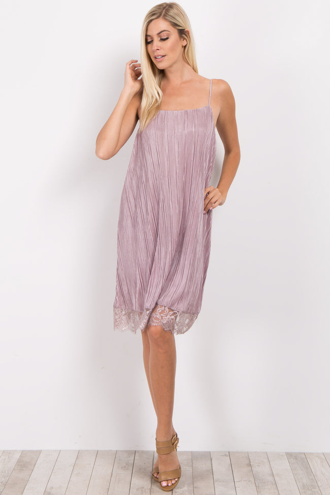 Light Pink Pleated Lace Trim Maternity Dress