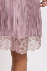 Light Pink Pleated Lace Trim Dress
