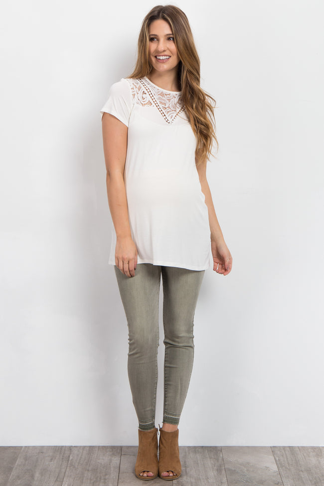Olive Faded Ankle Raw Cut Maternity Jeans