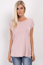 Light Pink Wrap Tie Back Top
