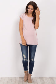 Light Pink Wrap Tie Back Maternity Top