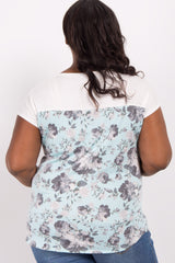 Mint Green Floral Colorblock Short Sleeve Plus Maternity Top
