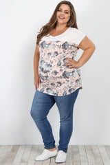Pink Floral Colorblock Short Sleeve Plus Maternity Top