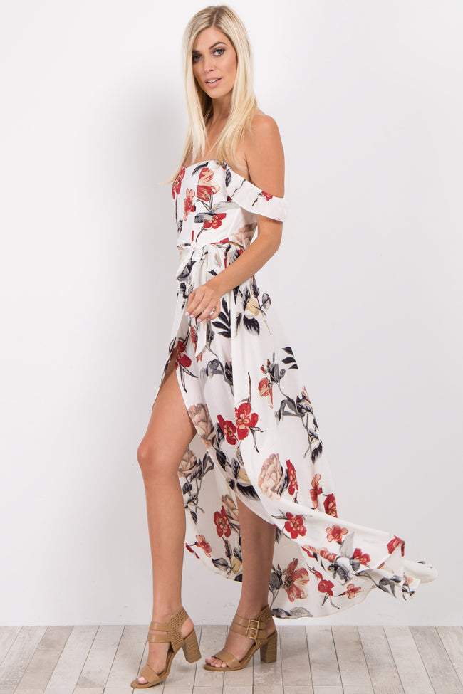 Cream Floral Off Shoulder Wrap Tie Maxi Dress