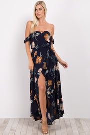 Navy Blue Floral Off Shoulder Maxi Dress