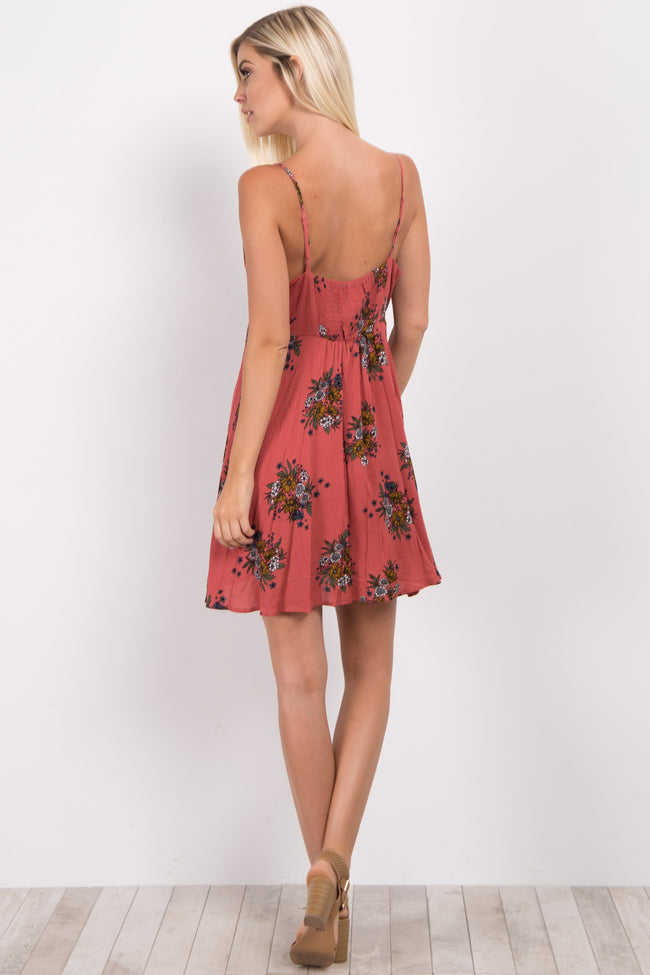 Rust Floral Button Front Dress