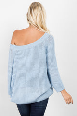 Blue Solid Knit Sweater