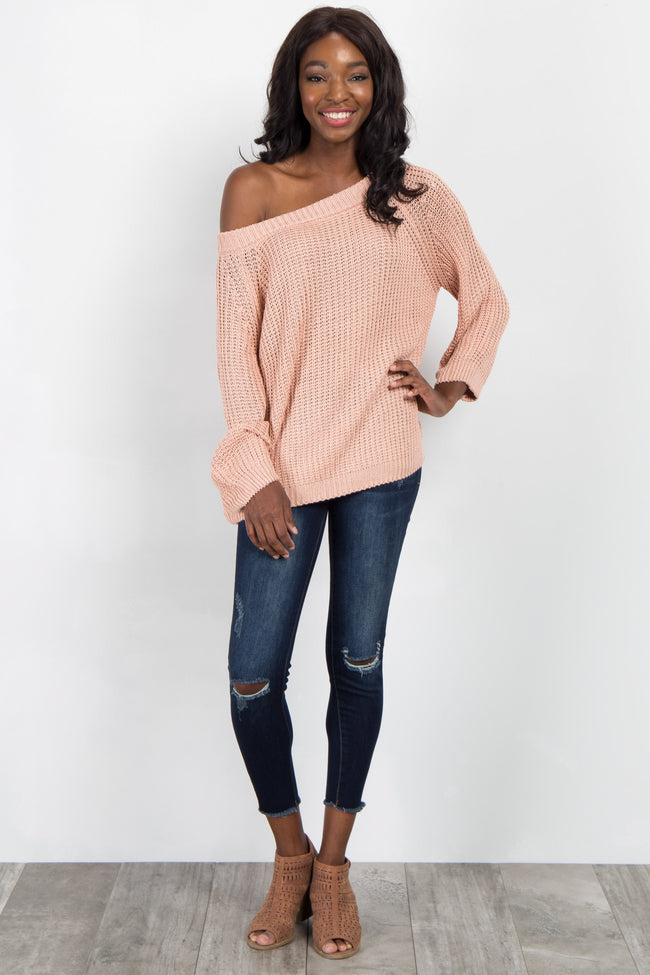 Peach Solid Knit Sweater