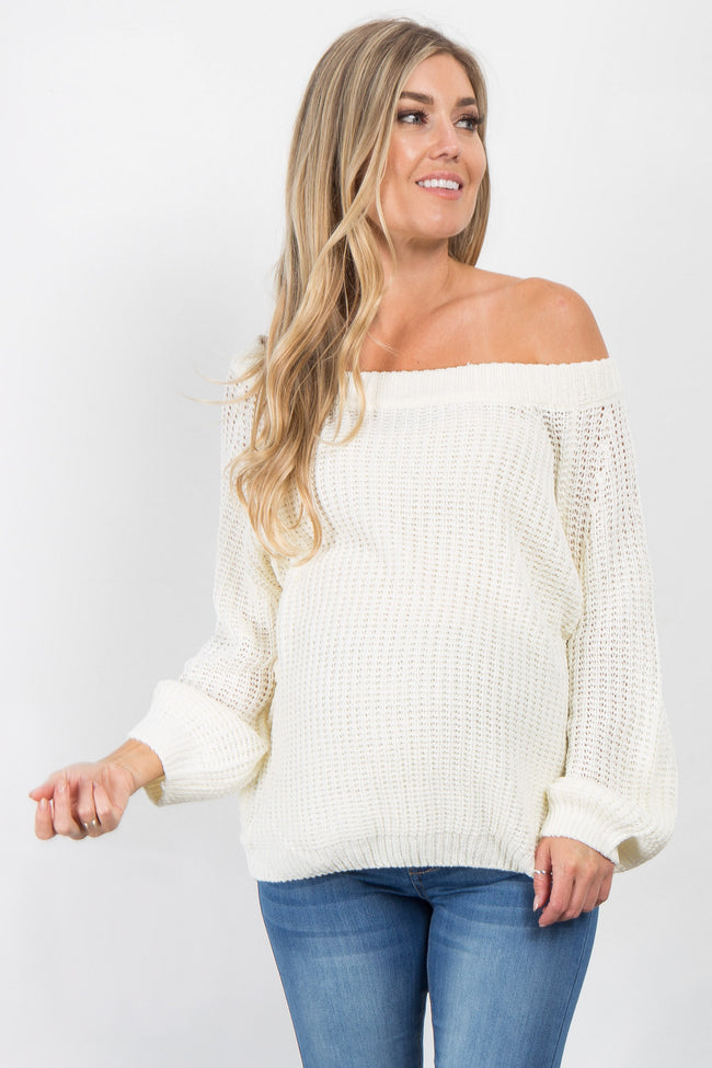 Ivory Solid Knit Maternity Sweater