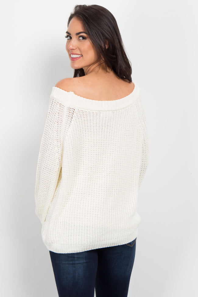 Ivory Solid Knit Sweater