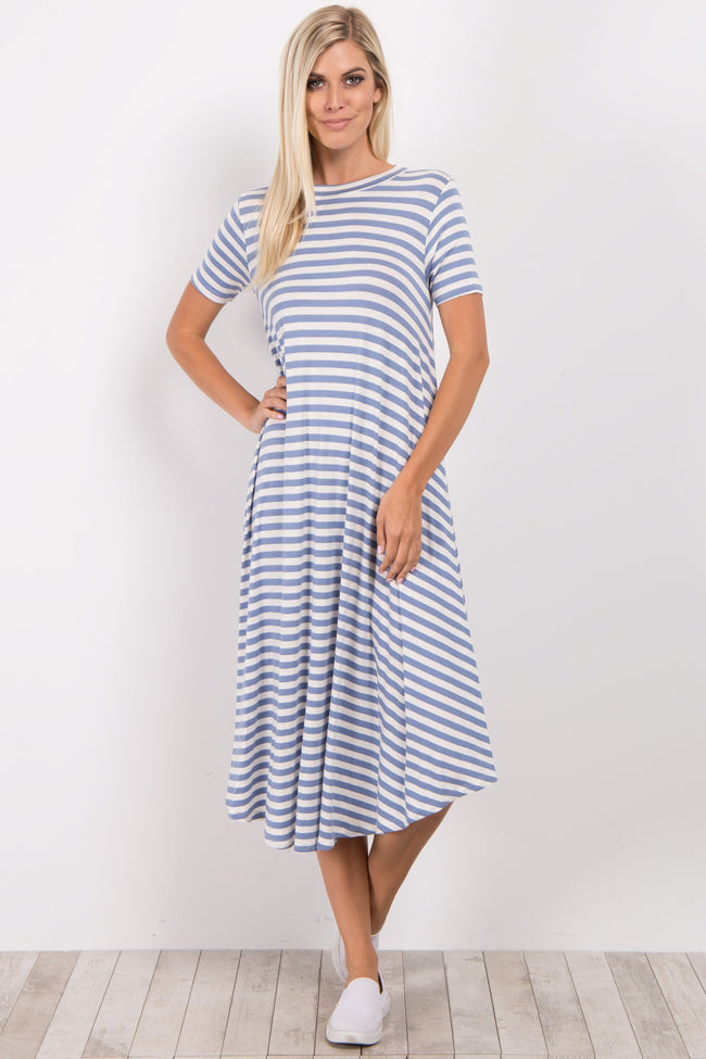 Light Blue Striped Swing Dress