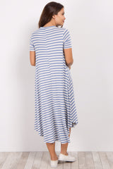 Light Blue Striped Maternity Swing Dress
