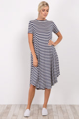 Navy Blue Striped Swing Dress