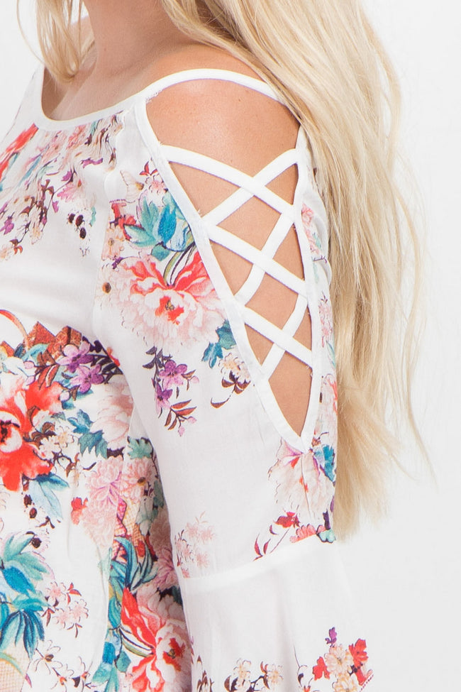 White Floral Crisscross Cold Shoulder Maternity Top