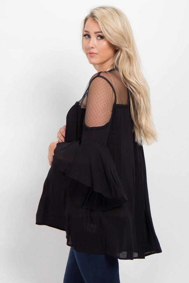 Black Mesh Accent Cutout Maternity Top