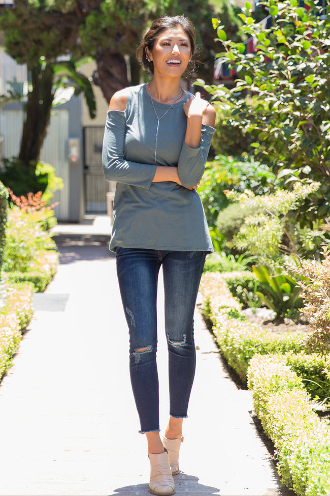Faded Teal Long Sleeve Cold Shoulder Top