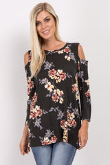 Dark Olive Floral Long Sleeve Cold Shoulder Top