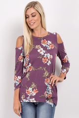 Purple Floral Long Sleeve Cold Shoulder Top