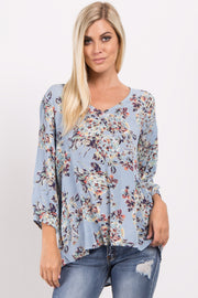 Blue Floral V Neck Top