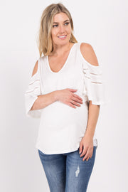 Ivory Cold Shoulder Crochet Accent Maternity Top